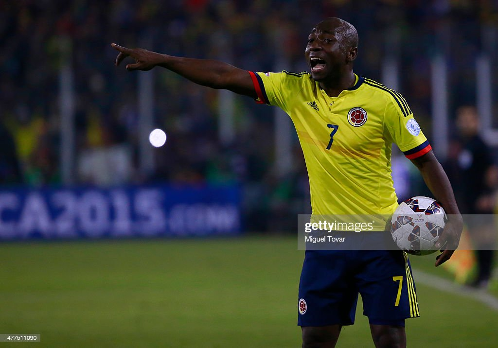 <a gi-track='captionPersonalityLinkClicked' href=/galleries/search?phrase=Pablo+Armero&family=editorial&specificpeople=631297 ng-click='$event.stopPropagation()'>Pablo Armero</a> of Colombia reacts during the 2015 Copa America Chile Group C match between Brazil and Colombia at Monumental David Arellano Stadium on June 17, 2015 in Santiago, Chile.