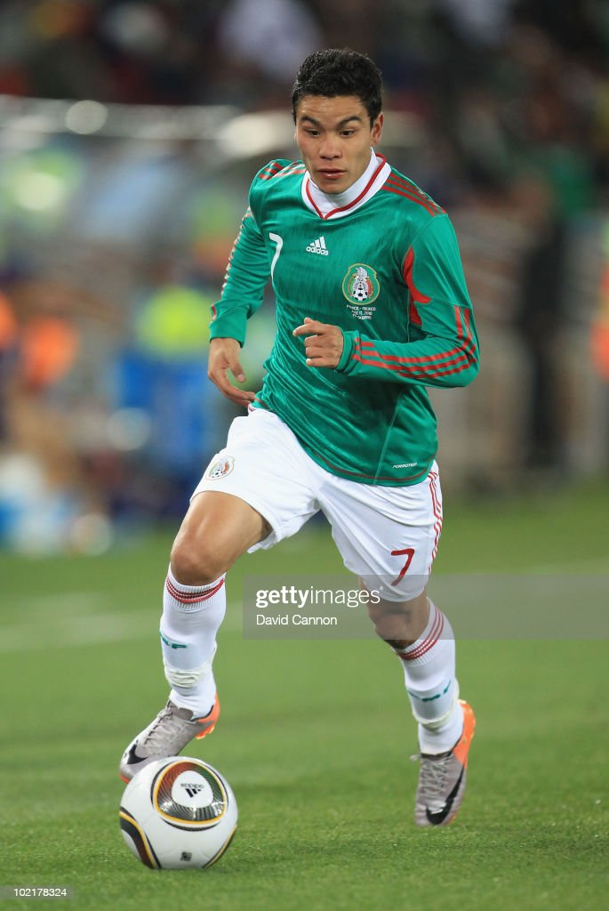 Pablo Barrera of Mexico runs with the ball during the 2010 FIFA World Cup South Africa Group A match between France and Mexico at the Peter Mokaba Stadium on June 17, 2010 in Polokwane, South Africa.