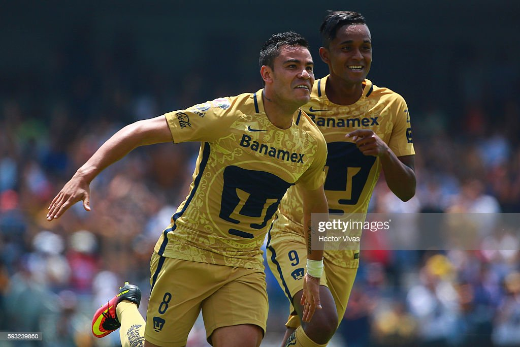 Pablo Barrera of Pumas celebrates after scoring the third goal of his team during the 6th round match between Pumas UNAM and Monterrey as part of the...