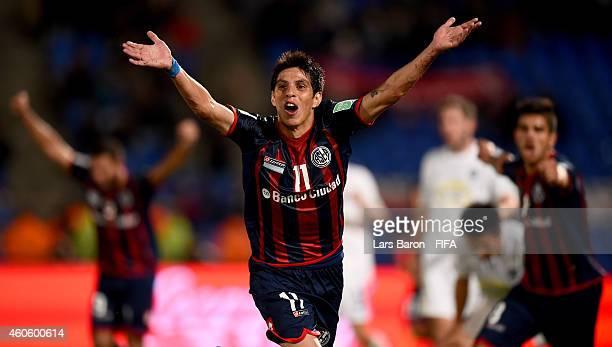 Pablo Barrientos of San Lorenzo celebrates after scoring his teams first goal during the FIFA Club World Cup Semi Final match between CA San Lorenzo...