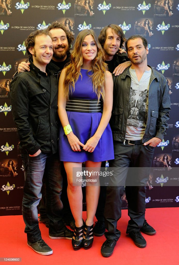 Pablo Benegas, Xabi San Martin, Leire Martinez, Hartiz Garde and Alvaro Fuentes, members of 'La oreja de Van Gogh' launch their new album 'Cometas por el Cielo' at San Anton Market on September 8, 2011 in Madrid, Spain