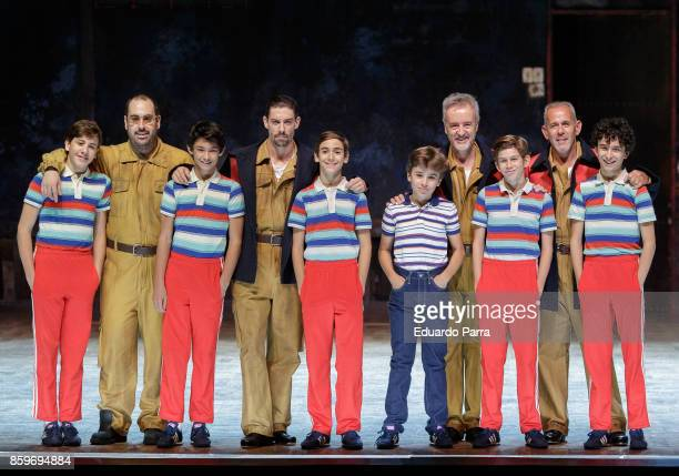Pablo Bravo Pau Gimeno Cristian Lopez Miguel Millan Oscar Perez Diego Rey Adrian Lastra and Carlos Hipolito attend the theater rehearsal of 'Billy...