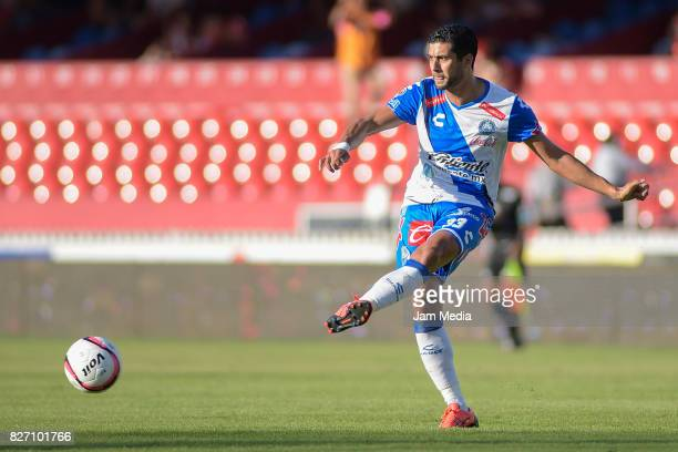 Pablo Caceres of Puebla passes the ball during the 3rd round match between Veracruz and Puebla as part of the Torneo Apertura 2017 Liga MX at Luis de...