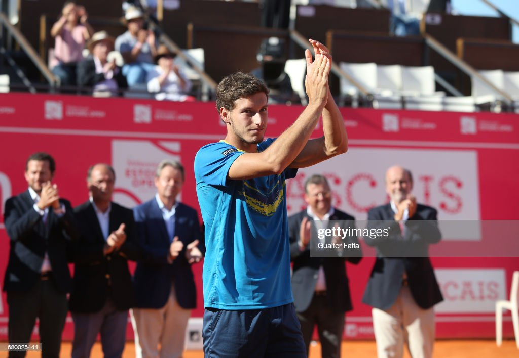 Pablo Carreno Busta at the end of the Final match between Pablo Carreno Busta from Spain and Gilles Muller from Luxembourg for the Millennium Estoril Open at Clube de Tenis do Estoril on May 7, 2017 in Estoril, Portugal.