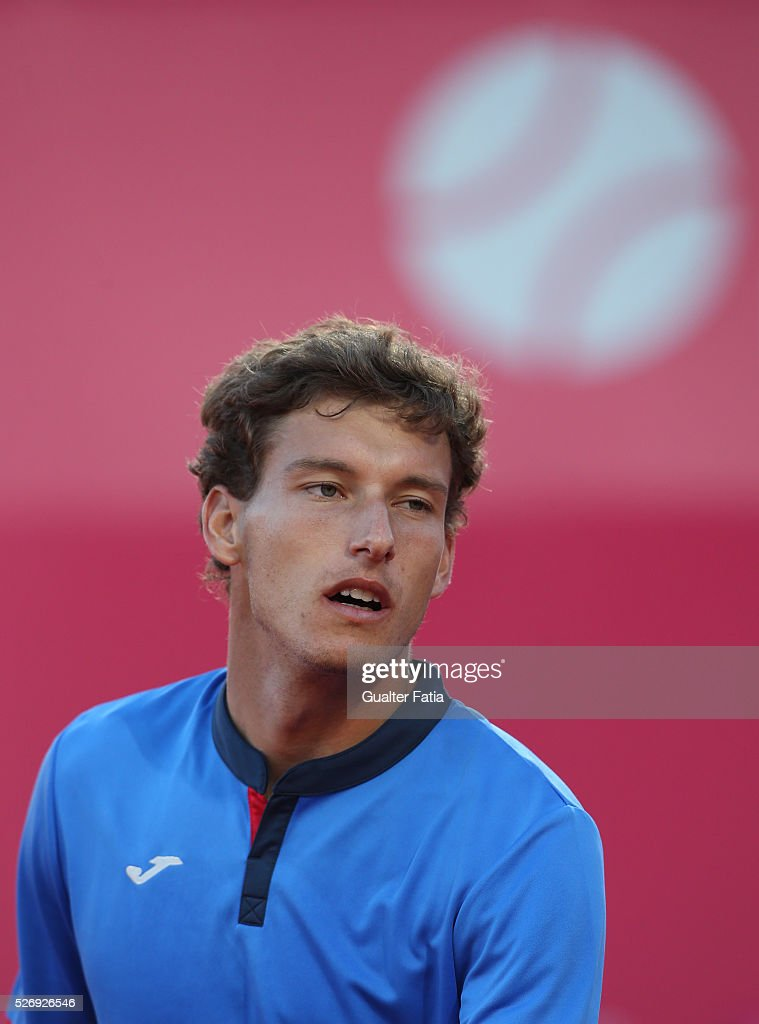 Pablo Carreno Busta from Spain during the singles final match between Pablo Carreno Busta from Spain and Nicolas Almagro from Spain for Millennium Estoril Open at Clube de Tenis do Estoril on May 1, 2016 in Estoril, Portugal.