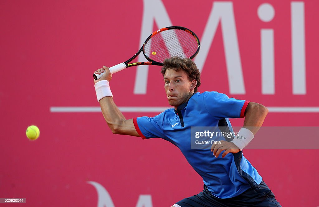 Pablo Carreno Busta from Spain in action during the singles final match between Pablo Carreno Busta from Spain and Nicolas Almagro from Spain for Millennium Estoril Open at Clube de Tenis do Estoril on May 1, 2016 in Estoril, Portugal.