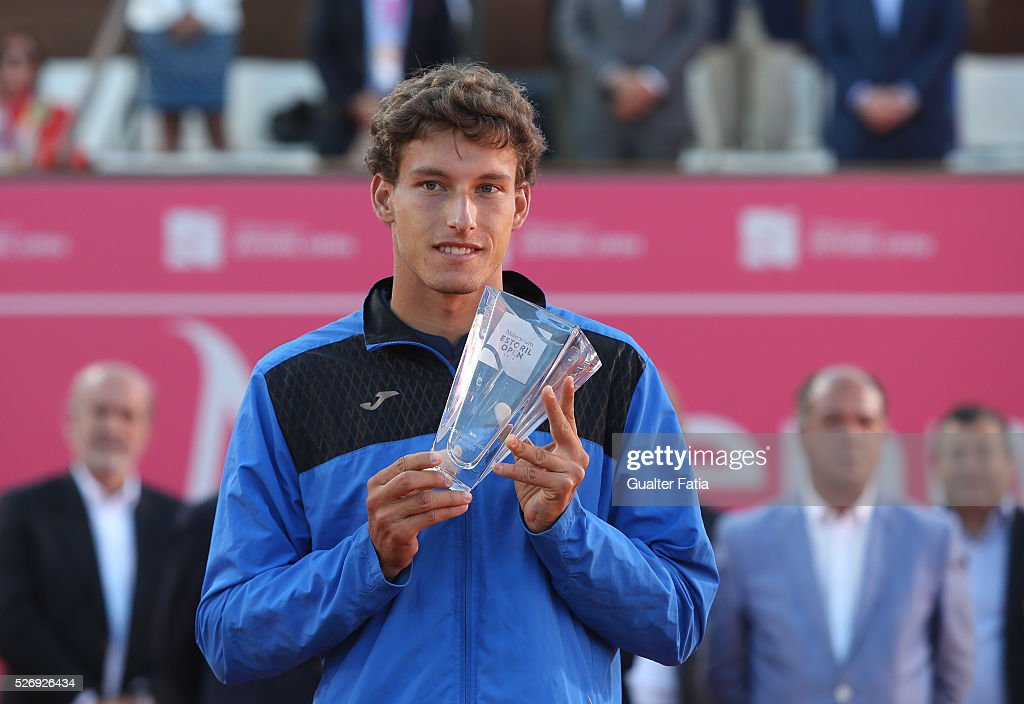 Pablo Carreno Busta from Spain with trophy at the end of the singles final match between Pablo Carreno Busta from Spain and Nicolas Almagro from Spain for Millennium Estoril Open at Clube de Tenis do Estoril on May 1, 2016 in Estoril, Portugal.