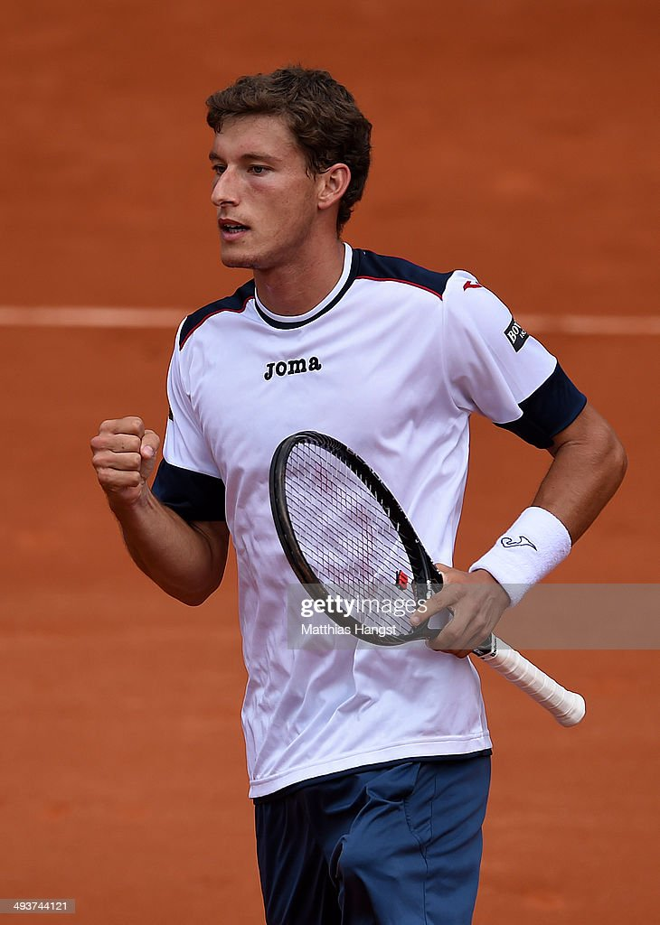 Pablo Carreno Busta of Spain celebrates a point during his men's singles match against Mikhail Youzhny of Russia on day one of the French Open at Roland Garros on May 25, 2014 in Paris, France.