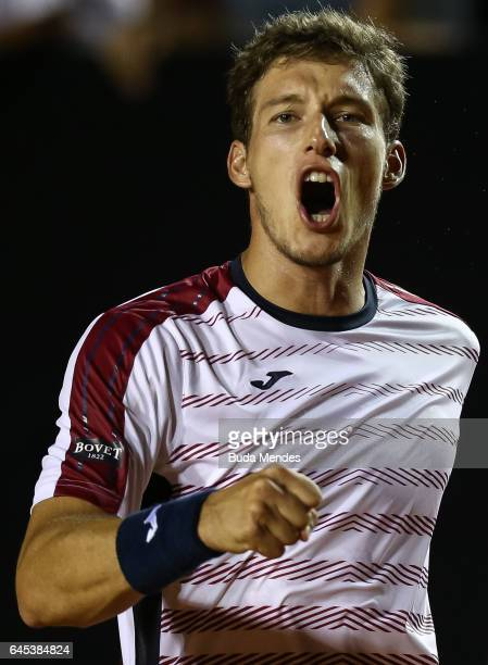 Pablo Carreno Busta of Spain celebrates a victory against Casper Ruud of Norway during the semifinals of the ATP Rio Open 2017 at Jockey Club...