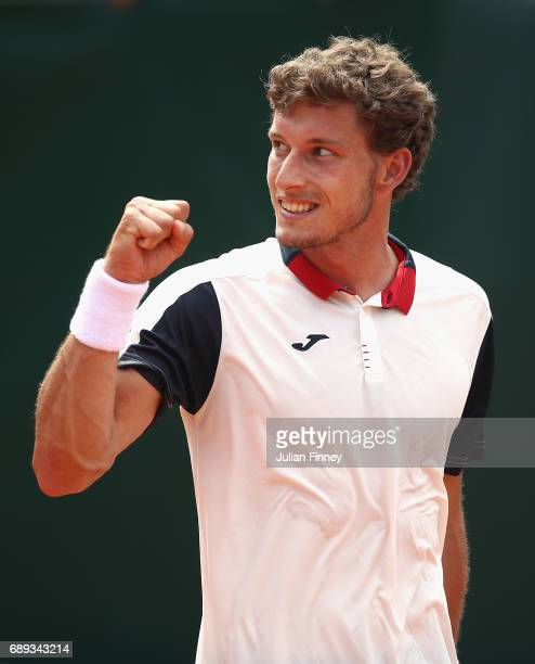 Pablo Carreno Busta of Spain celebrates during the mens singles first round match against Florian Mayer of Germany on day one of the 2017 French Open...