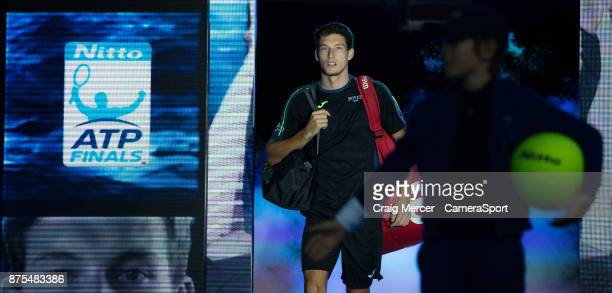 Pablo Carreno Busta of Spain enters to play against Grigor Dimitrov of Bulgaria in their Group Pete Sampras match today at O2 Arena on November 17...