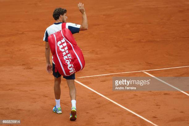 Pablo Carreno Busta of Spain gets injured during the day 11 of the French Open at Roland Garros on June 7 2017 in Paris France