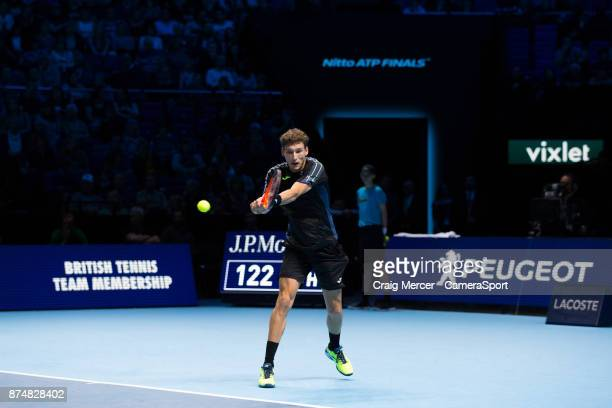 Pablo Carreno Busta of Spain in action against Dominic Thiem of Austria in their Peter Sampras group match today Thiem def Carreno Busta 63 36 64 at...