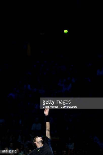 Pablo Carreno Busta of Spain in action against Grigor Dimitrov of Bulgaria in their Group Pete Sampras match today Dimitrov def Carreno Busta 61 61...