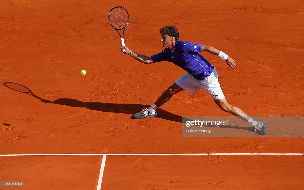 Pablo Carreno Busta of Spain in action against Novak Djokovic of Serbia during day five of the ATP Monte Carlo Rolex Masters Tennis at Monte-Carlo Sporting Club on April 17, 2014 in Monte-Carlo, Monaco.