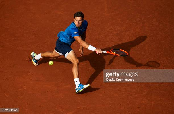 Pablo Carreno Busta of Spain in action at his match against Andreas Seppi of Italy during the Day2 of the Barcelona Open Banc Sabadell at the Real...