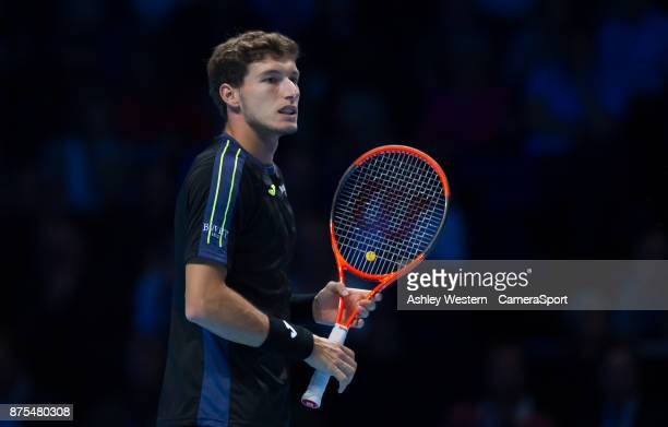 Pablo Carreno Busta of Spain in action during his defeat to Grigor Dimitrov of Bulgaria during their Group Pete Sampras match today Dimitrov def...