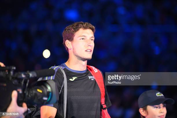 Pablo Carreno Busta of Spain makes his way out onto court before the third round robin match on day six of Nitto ATP World Tour Finals at the O2 Arena