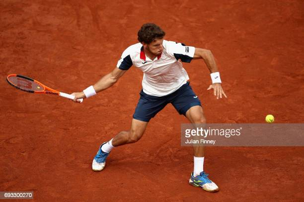 Pablo Carreno Busta of Spain plays a forehand during mens singles quarter finals match against Rafael Nadal of Spain at Roland Garros on June 7 2017...