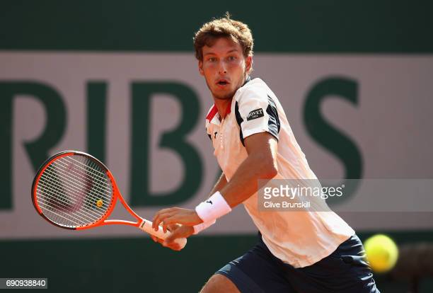 Pablo Carreno Busta of Spain plays a forehand during the mens singles second round match against Taro Daniel of Spain on day four of the 2017 French...