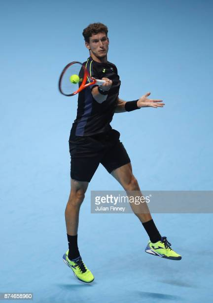 Pablo Carreno Busta of Spain plays a forehand during the singles match against Dominic Thiem of Austria on day four of the 2017 Nitto ATP World Tour...