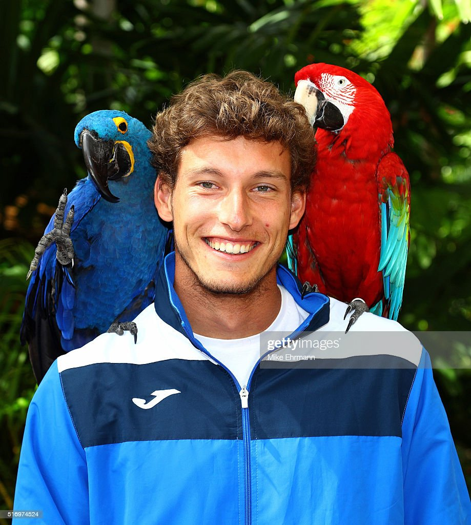 Pablo Carreno Busta of Spain poses during a trip to Jungle Island during Day 2 of the Miami Open presented by Itau at Crandon Park Tennis Center on March 22, 2016 in Key Biscayne, Florida.