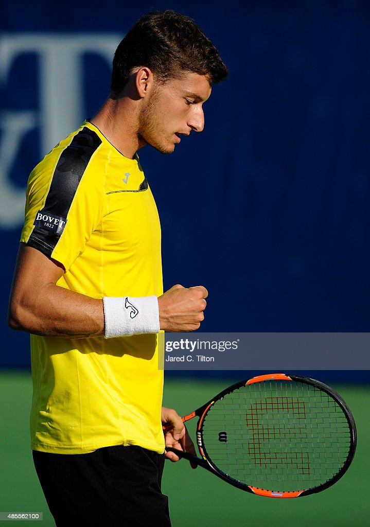 Pablo Carreno Busta of Spain reacts after a point in his match against Pierre-Hugues Herbert of France during the fourth day of the Winston-Salem Open at Wake Forest University on August 27, 2015 in Winston-Salem, North Carolina.