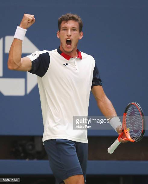 Pablo Carreno Busta of Spain reacts against Diego Schwartzman of Argentina during his Men's Singles Quarterfinal match on Day Nine of the 2017 US...