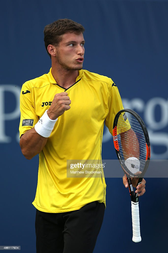 Pablo Carreno Busta of Spain reacts against Jerzy Janowicz of Poland during their Men's Singles First Round match on Day One of the 2015 US Open at the USTA Billie Jean King National Tennis Center on August 31, 2015 in the Flushing neighborhood of the Queens borough of New York City.