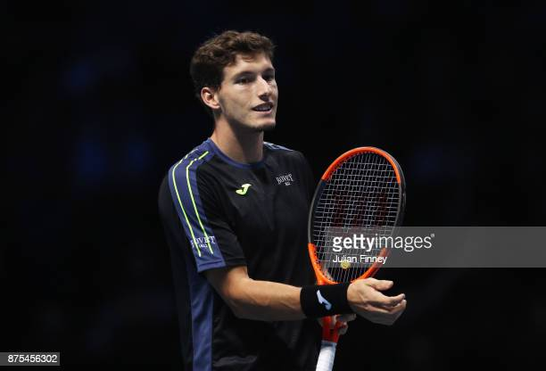 Pablo Carreno Busta of Spain reacts in his Singles match against Grigor Dimitrov of Bulgaria during day six of the Nitto ATP World Tour Finals at O2...