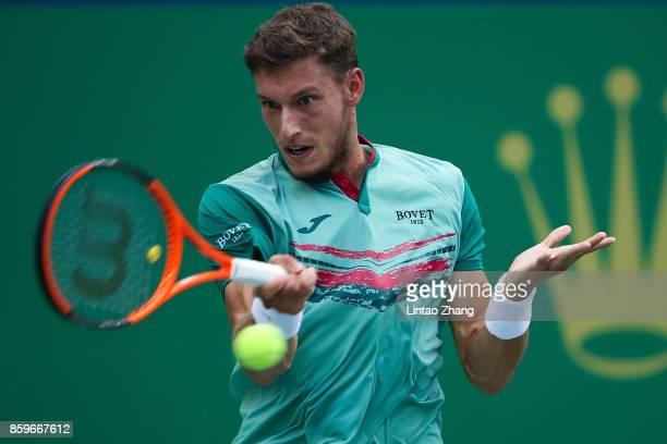 Pablo Carreno Busta of Spain returns a shot during the Men's singles match against Albert RamosVinolas of Spain on day three of 2017 ATP Shanghai...