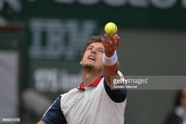 Pablo Carreno Busta of Spain serves during the men's singles quarterfinal match against Rafael Nadal of Spain on day eleven of the 2017 French Open...