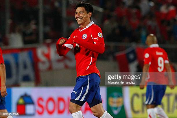 Pablo Contreras from Chile celebrate his goal against Paraguay during the match between Chile and Paraguay as part of the South American Qualifiers...