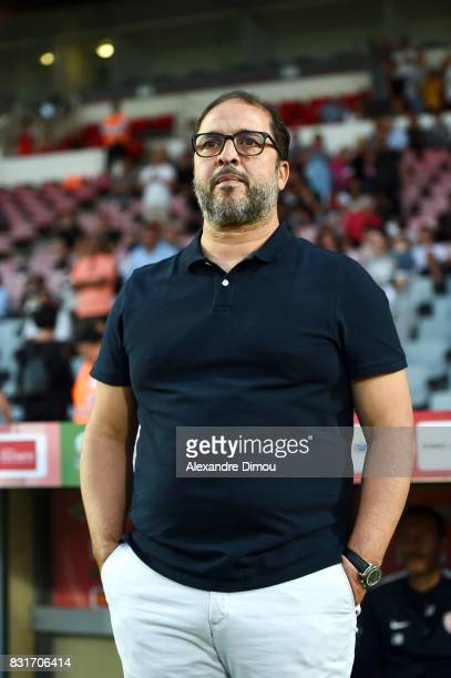 Pablo Correa Coach of Nancy during the Ligue 2 match between Nimes Olympique and As Nancy Lorraine at Stade des Costieres on August 14 2017 in Nimes