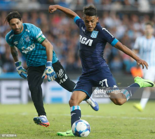 Pablo Cuadra of Racing Club takes a shot during a match between Racing and Atletico de Tucuman as part of Torneo Primera Division 2016/17 at...