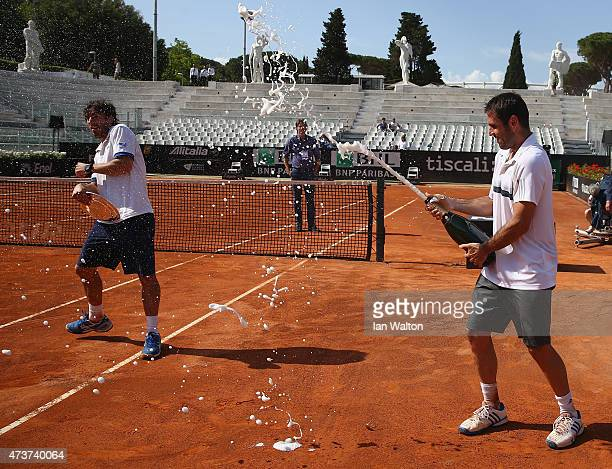 Pablo Cuevas of Argentina and David Marrero of Spain celebrates winning after their Men's Doubles Final match against Marcel Granollers and Marc...
