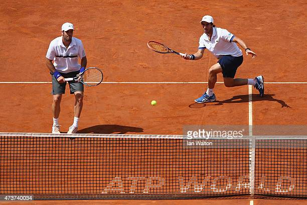 Pablo Cuevas of Argentina and David Marrero of Spain in action during their Men's Doubles Final match against Marcel Granollers and Marc López of...