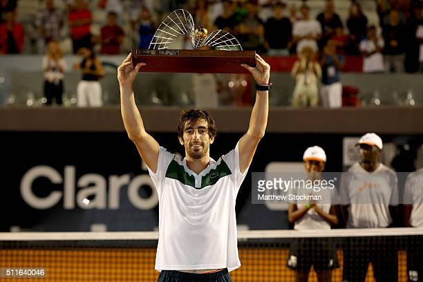 Pablo Cuevas of Uraguay celebrates his win over Guido Pella of Argentina during the final of the Rio Open at Jockey Club Brasileiro on February 21...