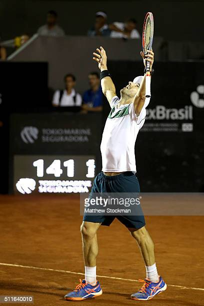 Pablo Cuevas of Uraguay celebrates match point against Guido Pella of Argentina during the final of the Rio Open at Jockey Club Brasileiro on...