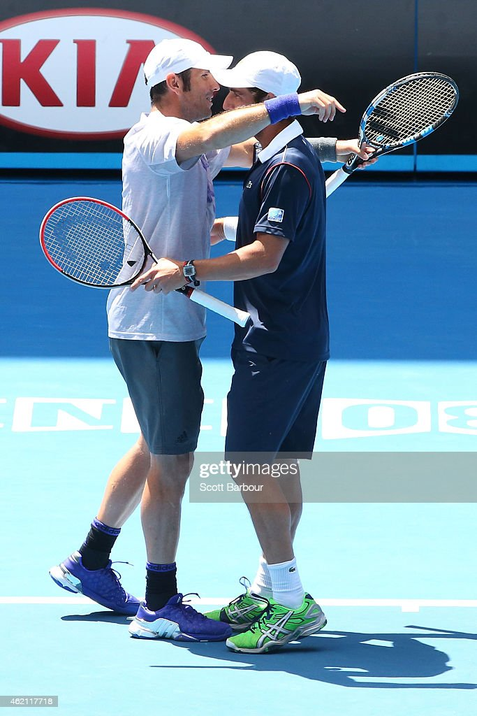 <a gi-track='captionPersonalityLinkClicked' href=/galleries/search?phrase=Pablo+Cuevas&family=editorial&specificpeople=822084 ng-click='$event.stopPropagation()'>Pablo Cuevas</a> of Uruguay and <a gi-track='captionPersonalityLinkClicked' href=/galleries/search?phrase=David+Marrero&family=editorial&specificpeople=5357971 ng-click='$event.stopPropagation()'>David Marrero</a> of Spain in action in their third round doubles match against Alex Bolt of Australia and Andrew Whittington of Australia during day seven of the 2015 Australian Open at Melbourne Park on January 25, 2015 in Melbourne, Australia.