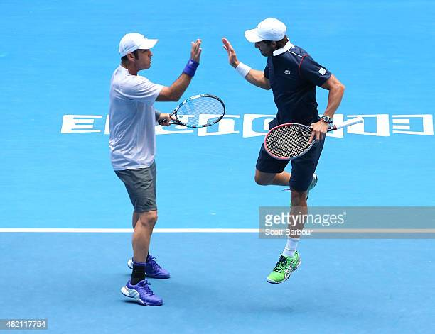 Pablo Cuevas of Uruguay and David Marrero of Spain in action in their third round doubles match against Alex Bolt of Australia and Andrew Whittington...
