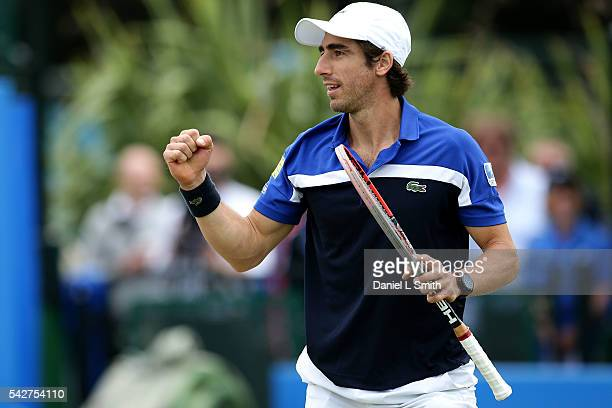 Pablo Cuevas of Uruguay celebrates defeating Gilles Muller of Luxembourg to progress to the finals during day five of the ATP Aegon Open Nottingham...