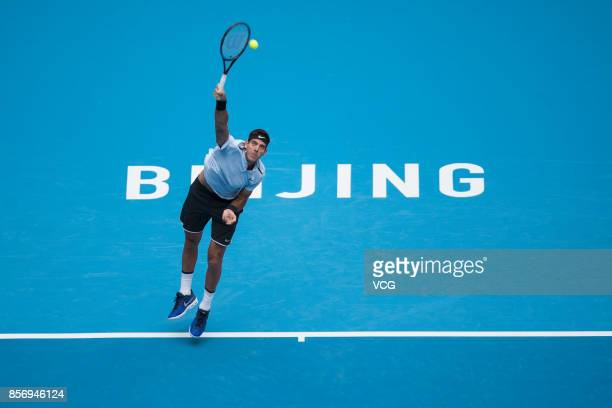 Pablo Cuevas of Uruguay competes during the Men's singles first round match against Juan Martin del Potro of Argentina on day four of 2017 China Open...