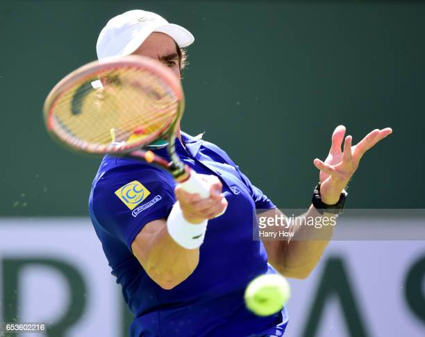Pablo Cuevas of Uruguay hits a forehand in his win over David Goffin of Belgium during the BNP Paribas at Indian Wells Tennis Garden on March 15 2017...