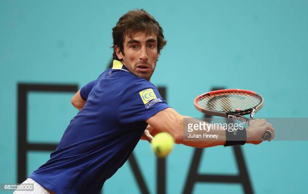Pablo Cuevas of Uruguay in action against Alexander Zverev of Germany during day seven of the Mutua Madrid Open tennis at La Caja Magica on May 12...