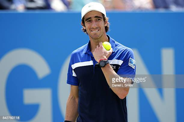 Pablo Cuevas of Uruguay looks worried between points during his men's singles semifinal match against Gilles Muller of Luxembourg during day five of...