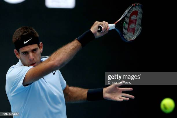 Pablo Cuevas of Uruguay returns a shot against Juan Martin del Potro of Argentina on day four of the 2017 China Open at the China National Tennis...