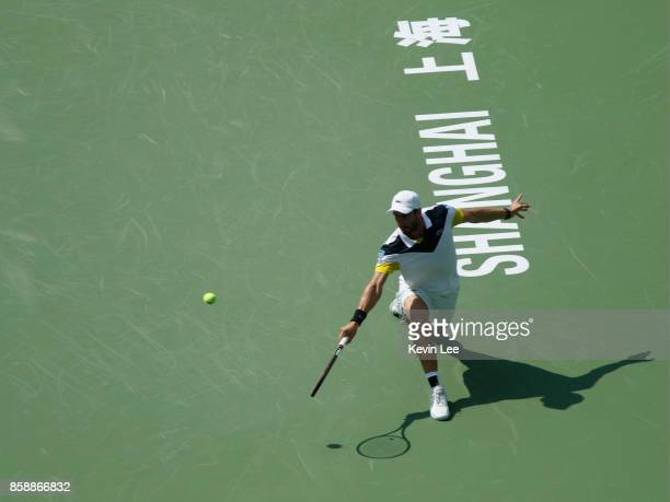 Pablo Cuevas of Uruguay returns a shot to Jared Donaldson of United States during Men's first round match on Day 1 of 2017 ATP 1000 Shanghai Rolex...