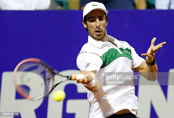 Pablo Cuevas of Uruguay takes a forehand shot during a match between Pablo Cuevas of Uruguay and David Ferrer of Spain as part of ATP Argentina Open...