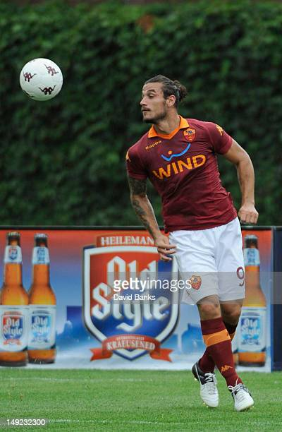 Pablo Daniel Osvaldo of AC Roma heads the ball against the Zaglebie Lubin during the first half of a international friendly match on July 22 2012 at...